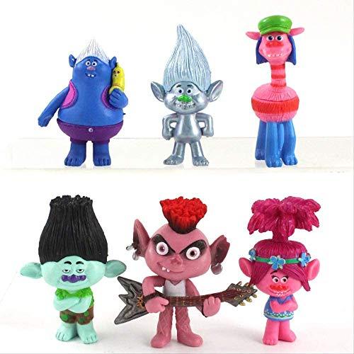 XCSW Decoración para tarta de Trolls Doll, 12 piezas de decoración para tarta de cumpleaños de animales de dibujos animados de Trolls Doll, Troll Theme Party Supplies