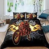 QQMHG Juego de ropa de cama con impresión 3D de moto-cross, 135 x 200 cm, color negro, con funda de almohada (A1,155 x 220 cm + 2 x 50 x 75 cm)