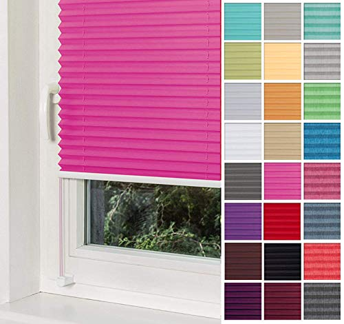 Home-Vision Premium Plissee Faltrollo ohne Bohren mit Klemmträger / -fix (Rosa, B25cm x H100cm) Blickdicht Sonnenschutz Jalousie für Fenster & Tür