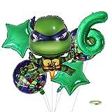 Yisscen Decoración de Cumpleaños 6 año Ninja Globo,Suministros de Decoración para Niños Globos para Fiestas,Globo de Aluminio de Helio,Fiesta Temática Set de Decoración de Cumpleaños(Verde)