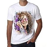 Janis Joplin Color, Camiseta para Las Hombres, Manga Corta, Cuello Redondo, Blanco