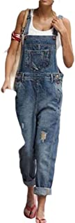 Jofemuho Women Ripped Destroyed Casual Bib Jeans with Pockets Loose Rompers Overalls