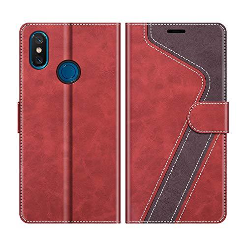MOBESV Handyhülle für Xiaomi Mi 8 Hülle Leder, Xiaomi Mi 8 Klapphülle Handytasche Hülle für Xiaomi Mi 8 Handy Hüllen, Modisch Rot