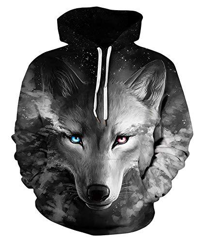 Goodstoworld 3D Druck Hoodie Grauer Wolf Kapuzenpullover Herren Damen Pullover Kapuze Gedruckte Top Lässig Hoodie Sweatshirt L