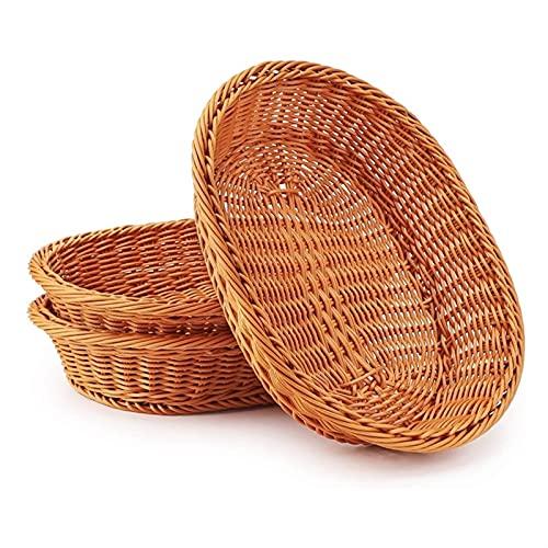 3 PCS Mimbre BaskettableTop Servicio de Alimentos Canasta Cesta a Prueba de Pan Fruta y Vegetal Sundries Cesta de Almacenamiento Canasta Pan
