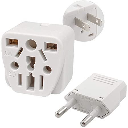 US Travel Plug Adapter EU/UK/AU/in/CN/JP/Asia/Italy/Brazil to USA (Type A) & European Plug Adapter Set, International Travel Adapter and Converter, Wall Outlet Power Charger Converter