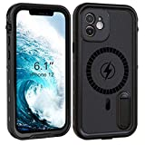 Fansteck iPhone 12 Waterproof Case with Kickstand, Compatible with MagSafe, IP68 Underwater Full Body Protective Snowproof/Shockproof/Dirtproof, High Sensitive Touch Screen (6.1 inch) (Black)