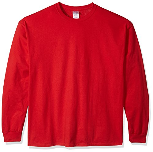 Gildan Men's Ultra Cotton Jersey Long Sleeve Tee Extended Sizes, Red, XX-Large