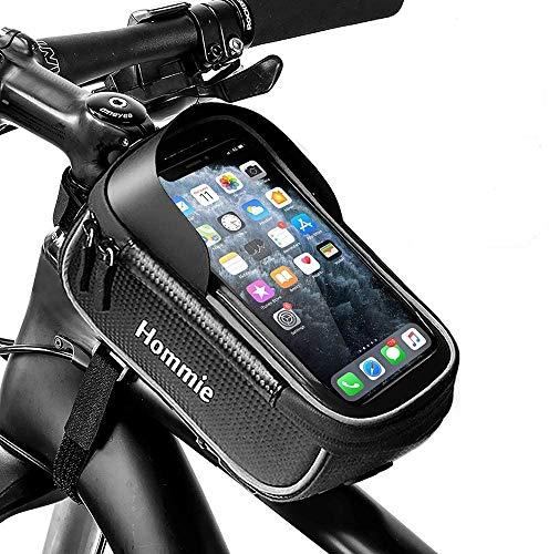 Bolsa de Bicicleta Impermeable con Banda Reflectante, Hommie Soporte Funda de Móvil Bici del marco o delantero 2 EN 1 con Táctil Pantalla por Iphone, Samsung Galaxy, HUawei hasta 6.2 pulgadas (Negro)