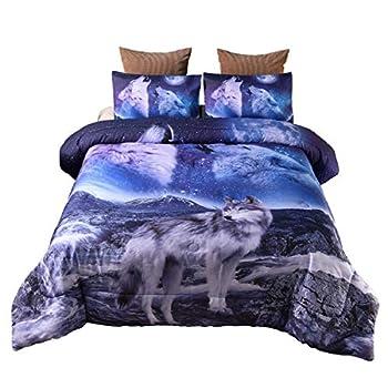 Holawakaka Moon Wolf Comforter Set Kids Teens Men Queen Bedding Set Animal Wolves Printed Quilt Bedspread  Mountain Wolf …