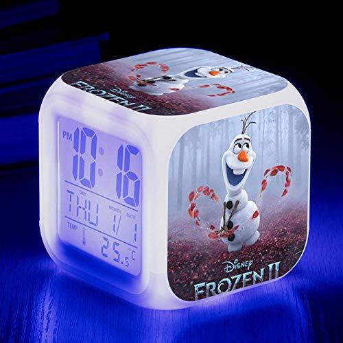 Réveil de dessin animé congelé 7 couleurs changeantes veilleuse LED réveil numérique étudiant brillant enfants horloge de bureau avec thermomètre adulte enfants cadeau - 77