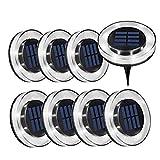 Luces Solar de Tierra Luz 8 LED, WZTO 1600LM Luces Solares Jardin Impermeable Lámpara en el Exterior, Patio, Entrada de Garaje, Césped, Decoración de Camin