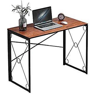 """VECELO 39.4"""" Small Writing Computer Desk Simple Study Folding Table for Home Office, Dorm, College, Notebook Work, No Assembly&Space Saving Design, Brown (B07L3PFYBF)   Amazon price tracker / tracking, Amazon price history charts, Amazon price watches, Amazon price drop alerts"""