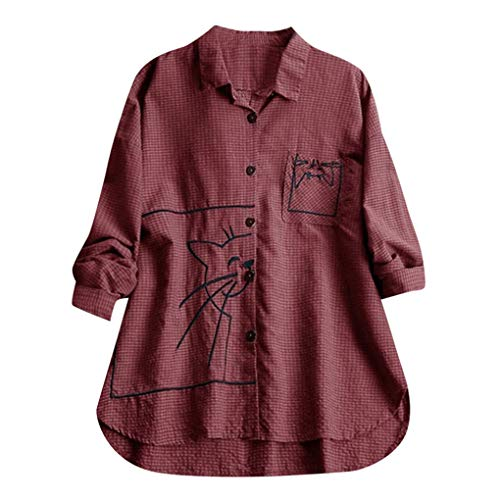 Dorical Damen Leinen Blusen Elegant Langarm Freizeit Oberteil Lose Langarmshirt Tunika Hemd mit Taschen Bluse Langarm Shirt Lässige Lose Tunika Tops T-Shirt Hemdbluse Große Größen(2-Weinrot,5XL)