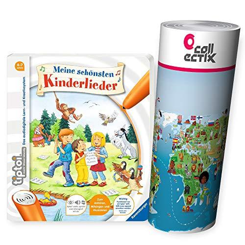 Ravensburger tiptoi  Buch | Meine schönsten Kinderlieder + Kinder Weltkarte - Länder, Tiere,...