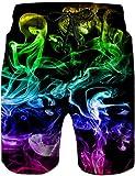 Loveternal Homme Shorts de Plage à Séchage Galaxie Rapide Hawaii Shorts Cool Graphique Fumée...
