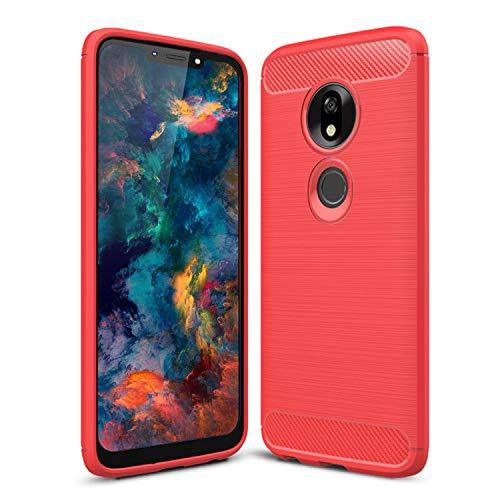 SCL Hülle Für Moto G7 Power Handyhülle Motorola G7 Power Hülle Moto G7 Power, Carbon-Faser Gebürstete Textur Design Schutzhülle mit Anti-Kratzer & Anti-Stoß Absorbtion Technologie [Rot]