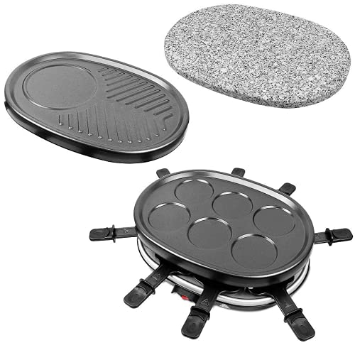 Leogreen - Appareil à Raclette 4 en 1 Multifonctions 8 personnes, Pierre à Griller, Plaque Grill, Plaques Crêpes, 8 poêlons, Compatibles Lave-Vaisselles, 900W