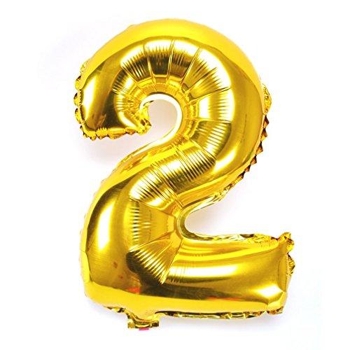 Souarts Ballon Gonflable Forme Chiffre 2 pour Anniversaire Fete Mariage Enfant Couleur Dore 44cmx22cm 1PC