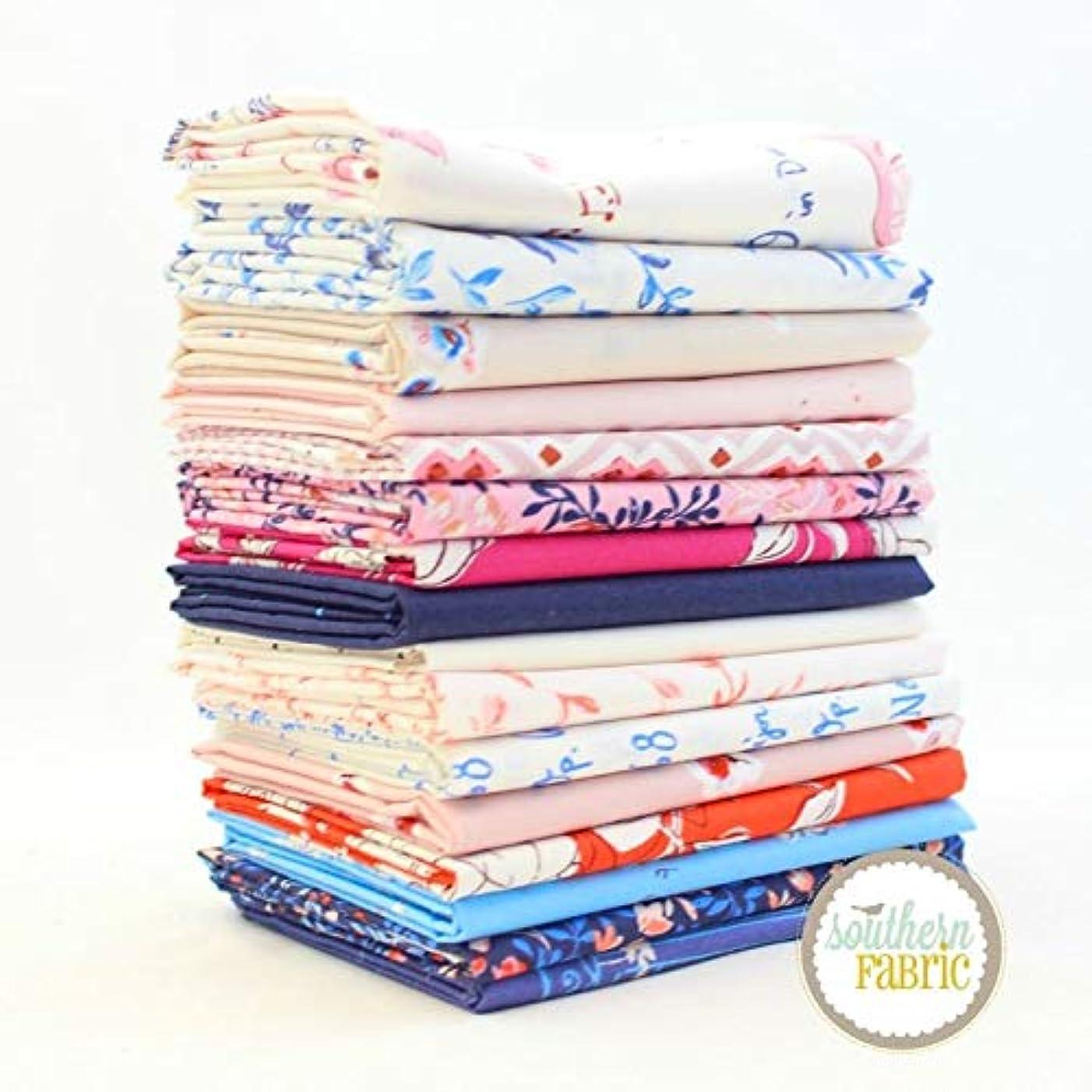 Art Gallery Sonata Fat Quarter Bundle (16 pcs) by Amy Sinibaldi 18 x 21 inches (45.72cm x 53.34cm) Fabric cuts DIY Quilt Fabric