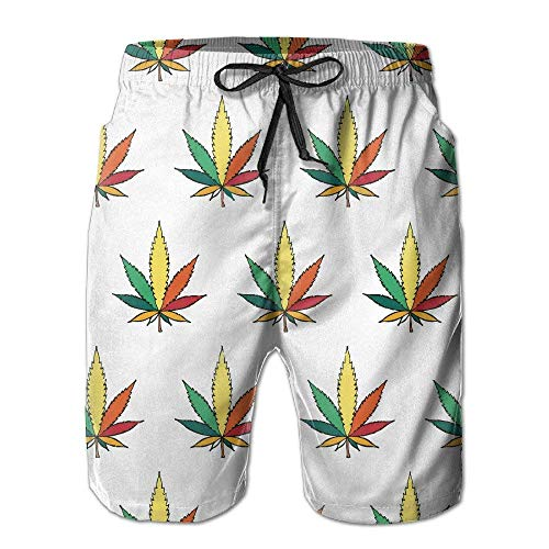 Hombres Marihuana Colorida Marihuana Verano Transpirable Traje de baño Shorts de Playa Shorts Cargo