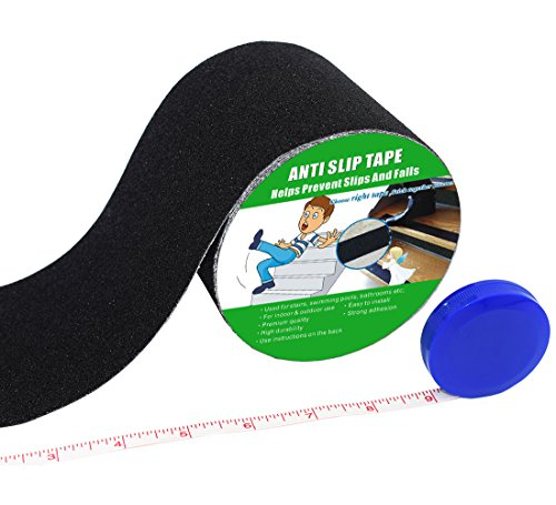 Anti Slip Tape, High Traction,Strong Grip Abrasive, Not Easy Leaving Adhesive Residue, Indoor & Outdoor, with Measuring Tape (4' Width x 190' Long, Black)