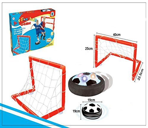 X Toys Night Lions Tech(TM) Light Up Air Power Soccer Disk- Two Soccer Goal Posts Outdoor Sports Toys Play Set for Kids
