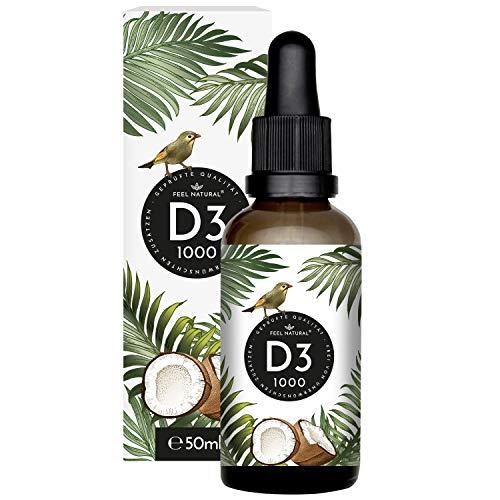 Vitamin D3-1000 I.E. pro Tropfen - 50ml (1750 Tropfen) - Sehr hohe Stabilität - In MCT-Öl aus Kokos gelöst - Hochdosiert, ohne Zusätze, in Deutschland produziert