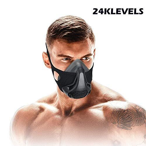 Training Mask Sport Vital Capacity Running 24/48 Breathing Resistance Levels Training Mask Fitness Mask High Altitude Running Resistance Breathing Oxygen Adult Mask 24 KLEVESL