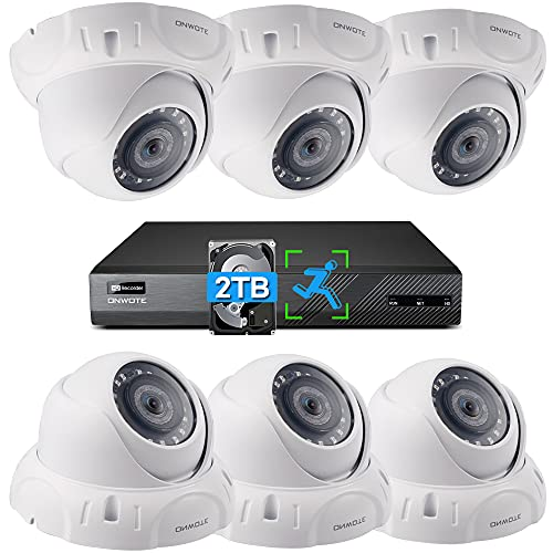 ONWOTE 4K PoE Security Camera System, Smart Human Detection, (6) 8MP Outdoor Wide Angle Wired PoE IP Cameras, 8-CH H.265+ NVR, Record Video Audio, 8 Channel Synchronous Playback
