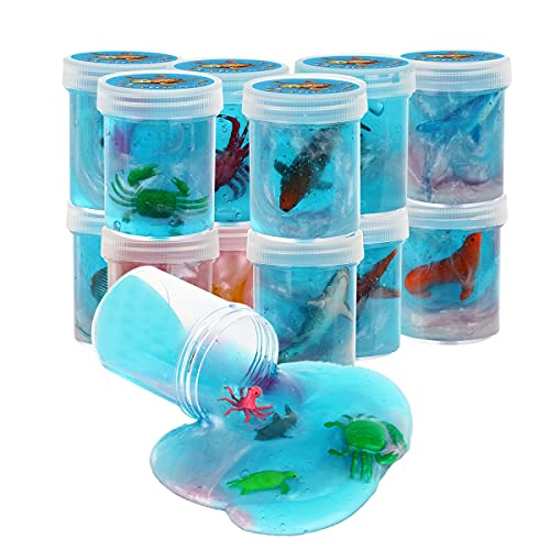 Ocean Animal Slime Toy - 16 Pieces Bottles of Colorful Galaxy Sludge Toy 12pcs Sea Animal Charms Included Super Soft & Non-Sticky  Birthday Gifts for Girl and Boys