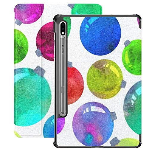 Funda para Galaxy Tab S7 Funda Delgada y Ligera con Soporte para Tableta Samsung Galaxy Tab S7 de 11 Pulgadas Sm-t870 Sm-t875 Sm-t878 2020 Lanzamiento, Bolas de Navidad Coloridas Vector Acuarela tran
