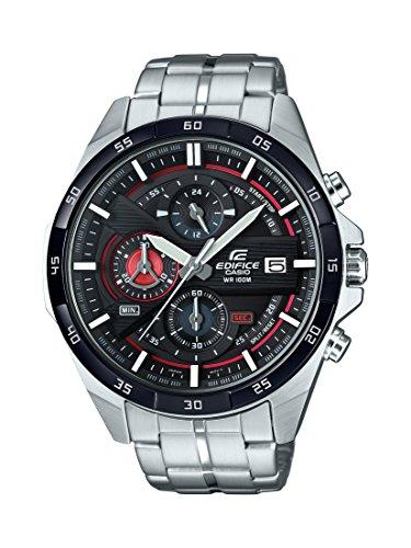 Casio EDIFICE Reloj en caja sólida, 10 BAR, Rojo/Negro, para Hombre, con Correa de Acero inoxidable, EFR-556DB-1AVUEF