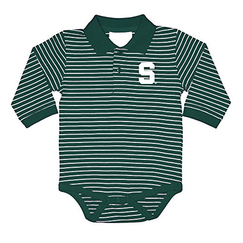 Two Feet Ahead NCAA Michigan State Spartans Infant Boys Long Sleeve Stripe Golf Creeper, 18 Months