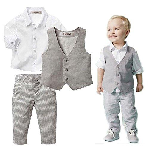 stylesilove Baby Kid Boy Formal Wear Shirt, Vest and Pants 3-pc (110/3-4 Years) Khaki