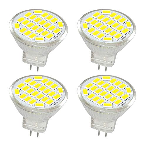 Jenyolon MR11 GU4 LED Lampen weiss 3W AC/DC 12V, 6000K, 400Lm, Ersatz für 30W Halogenlampen Glühlampen, klein MR11 LED Leuchtmittel Birne Spot Licht, 120°Abstrahlwinkel, 4er Pack