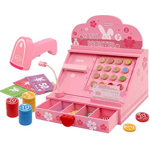 Caja Registradora de Juguete Simulación de los niños Supermercado Cash Register Toy Boy and Girl Wood Multifuncional Cash Register Juego de Juguete para Niñas Niños Pequeños
