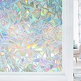 Etiqueta autoadhesiva estática de privacidad, película de Ventana de Vinilo con Efecto de Arco Iris 3D a Prueba de Rayos UV, Utilizada en la Oficina en casa X 45x100cm