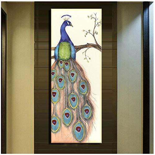 Rjunjie HD Print Großformat Abstract Peacock Moderne Leinwandbilder Tiere Home Dekorative Bilder für Kinderzimmer (50x150 cm ohne Rahmen)