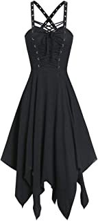 KYLEON Women's Goth Dress Cool Solid Zipper Irregular Hem Sleeveless Camisole Vintage Party Casual Mini Short Dresses