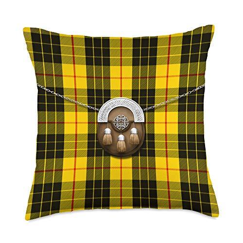 The Celtic Flame Plaid Tartans Scottish Clan MacLeod Tartan Plaid With Sporran Throw Pillow, 18x18, Multicolor
