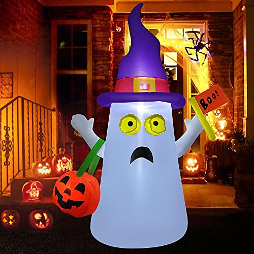 VATOS Inflatable Halloween Decoration Outdoor - 4.5 FT Halloween Blow Up Ghost with LED Light and Hand-held Pumpkin for Halloween Yard Decorations Outside Indoor Party Inflatable Halloween Decor
