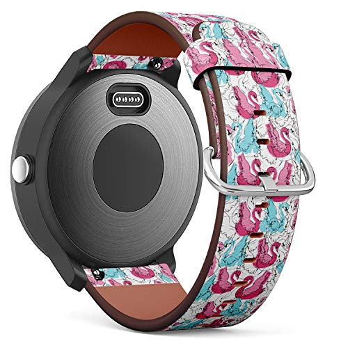 Replacement Leather Strap Printing Wristbands Compatible with Garmin Vivoactive 3 / Vivoactive 3 Music/Vivomove - Hand Drawn Swan Vector Pattern Illustration