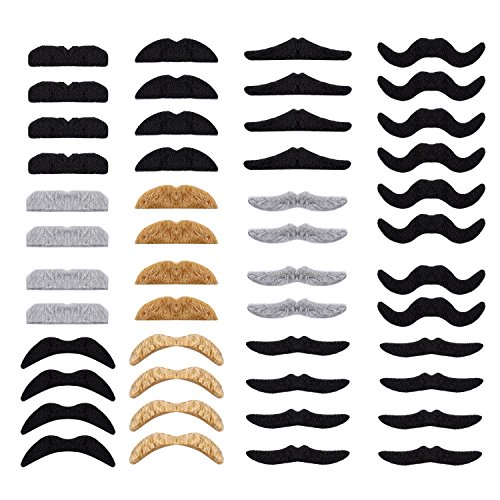 Whaline 48 Piece Self Adhesive Fake Mustache Set Novelty Mustaches for Costume and Halloween Festival Party