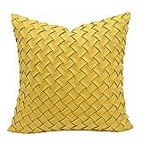 HOUMEL Cubiertas de Cojines Decorativos Cajas de Almohadas de Tejido geométrico Amarillo con Relleno para Sala de Estar sofá sofá Cama 50 cm x 50 cm 20 x 20 Pulgadas 452