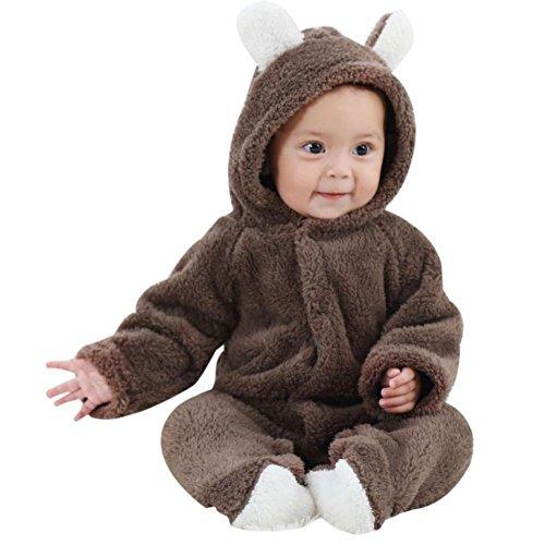 Baywell Baby Strampler Overall, Langram Korallen Fleece Cartoon Warme Winter Baby Hoodie Jumpsuit(Braun, M/3-6 Monate)