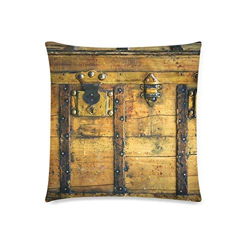 QUEMIN Baúl de Madera Antiguo en Color Dorado y decoración oxidada, Funda de Almohada con cojín, Protector de Funda de Almohada Cuadrado con Cremallera de 18 x 18 Pulgadas