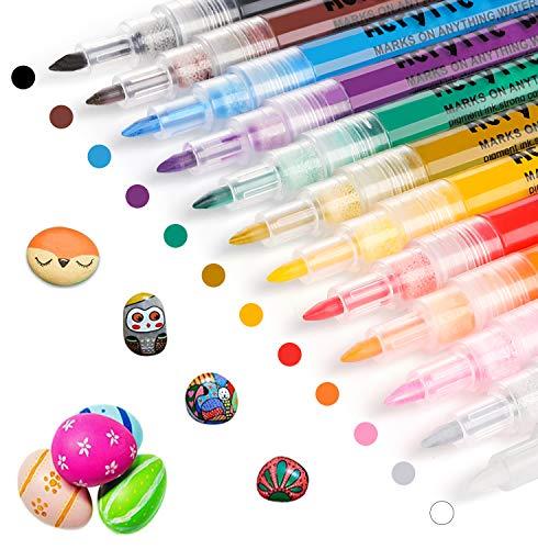 Acrylstifte Marker Stifte, Ratel 12 Farben Wasserfest Acrylstifte für Steine Bemalen, Acrylfarben Stifte für Kinder DIY Keramik Glas Porzellan Metall Kunststoff Holz Leinwand (0.7mm Spitze)
