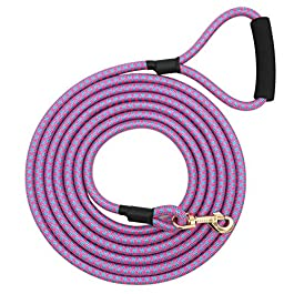 MJ-July Nylon Braid Strong Dog Rope Lead Training and Walking Leash with Soft Padded Handle 5-20 FT Long
