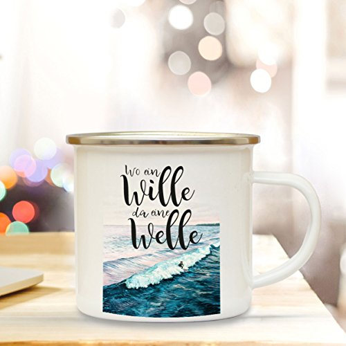 ilka parey wandtattoo-welt Emaille Becher Camping Tasse Meer & Surfer mit Spruch Motto Wo EIN Wille da eine Welle Kaffeetasse Zitat Geschenk eb156